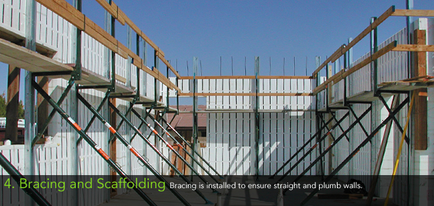 4. Bracing and Scaffolding - Bracing is installed to ensure straight and plumb walls.