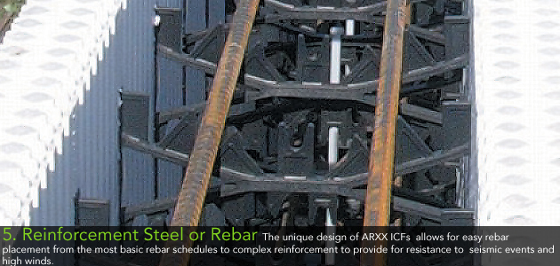 5. Reinforcement Steel or Rebar - The unique design of ARXX ICFs allows for easy rebar placement from the most basic rebar schedules to complex reinforcement to provide for resistance to seismic events and high winds.